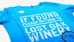Aqua If Found Please Return to Lost Oak Winery T-Shirt
